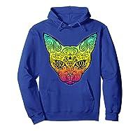Techno Trance Edm Club Day Of The Dead Cat Sugar Skull Shirts Hoodie Royal Blue