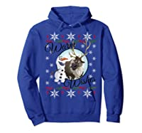Frozen Olaf Sven Warm Wishes Ugly Sweater Shirts Hoodie Royal Blue