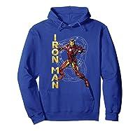 Marvel Avengers Assemble Iron Man Tech Graphic T-shirt Hoodie Royal Blue