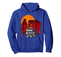 Red Horse Sunset T Shirt Honor Respect Loyalty Cowboy Hoodie Royal Blue
