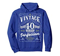 Vintage 40th Birthday Shirt, 1979, Aged To Perfection Hoodie Royal Blue