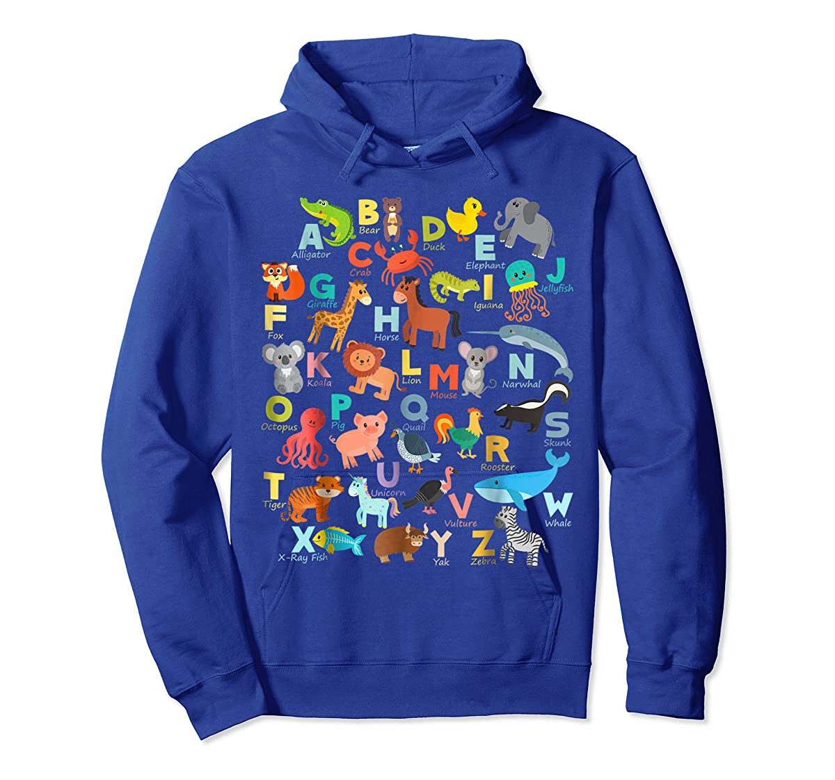 Alphabet Animal ABCs Learning Shirt for boys, girls, adults-Hoodie-Royal