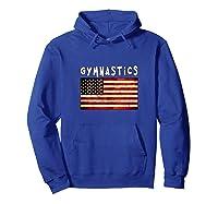 Gymnastics Usa American Flag Apparel Gymnast Grunge Design Shirts Hoodie Royal Blue