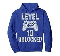 Level 10 Unlocked 10th Video Game Birthday Gift Shirts Hoodie Royal Blue