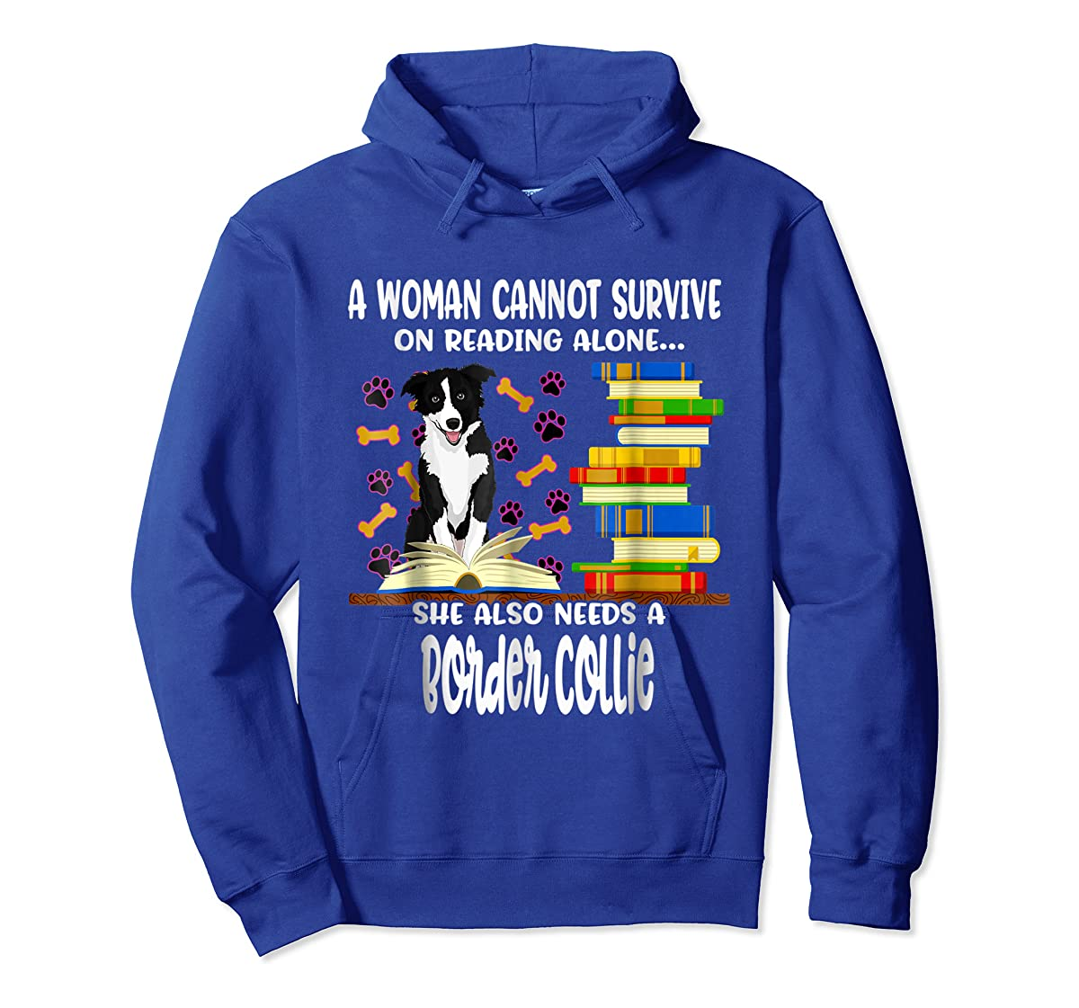 A Woman Reading Book Dog Border Collie Shirt-Hoodie-Royal
