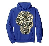 Angry Great Ape Art T-shirt Fierce Silverback Gorilla Face Hoodie Royal Blue