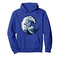 Japanese Art Gift Ocean Wave Line Work Design Shirts Hoodie Royal Blue