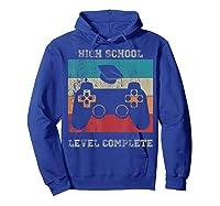 High School Graduation Shirt Level Complete Video Gamer Gift Hoodie Royal Blue