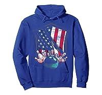 Vintage Bowling T Shirt American Usa Flag Bowling T-shirt Hoodie Royal Blue