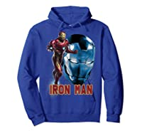 Avengers Endgame Iron Man Side Profile Graphic Shirts Hoodie Royal Blue