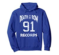 Death Row Records Athletic 91 Distressed T-shirt Hoodie Royal Blue