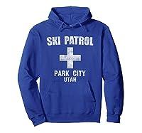Retro Park City Utah Ski Patrol T Shirt Hoodie Royal Blue