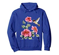 Hummingbird With Roses T For Shirts Hoodie Royal Blue