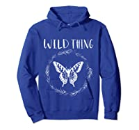 Wild Thing Butterfly Floral Wht Shirts Hoodie Royal Blue