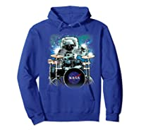 Nasa Space Drum Playing Astronaut Premium Graphic T-shirt Hoodie Royal Blue