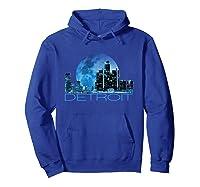 Detroit Skyline At Night Shirt Hoodie Royal Blue