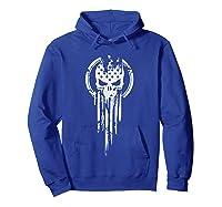 New American Warrior Flag Skull Military T-shirt Army Usa T-shirt Hoodie Royal Blue