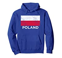 Poland National Flag - Distressed For & Shirts Hoodie Royal Blue