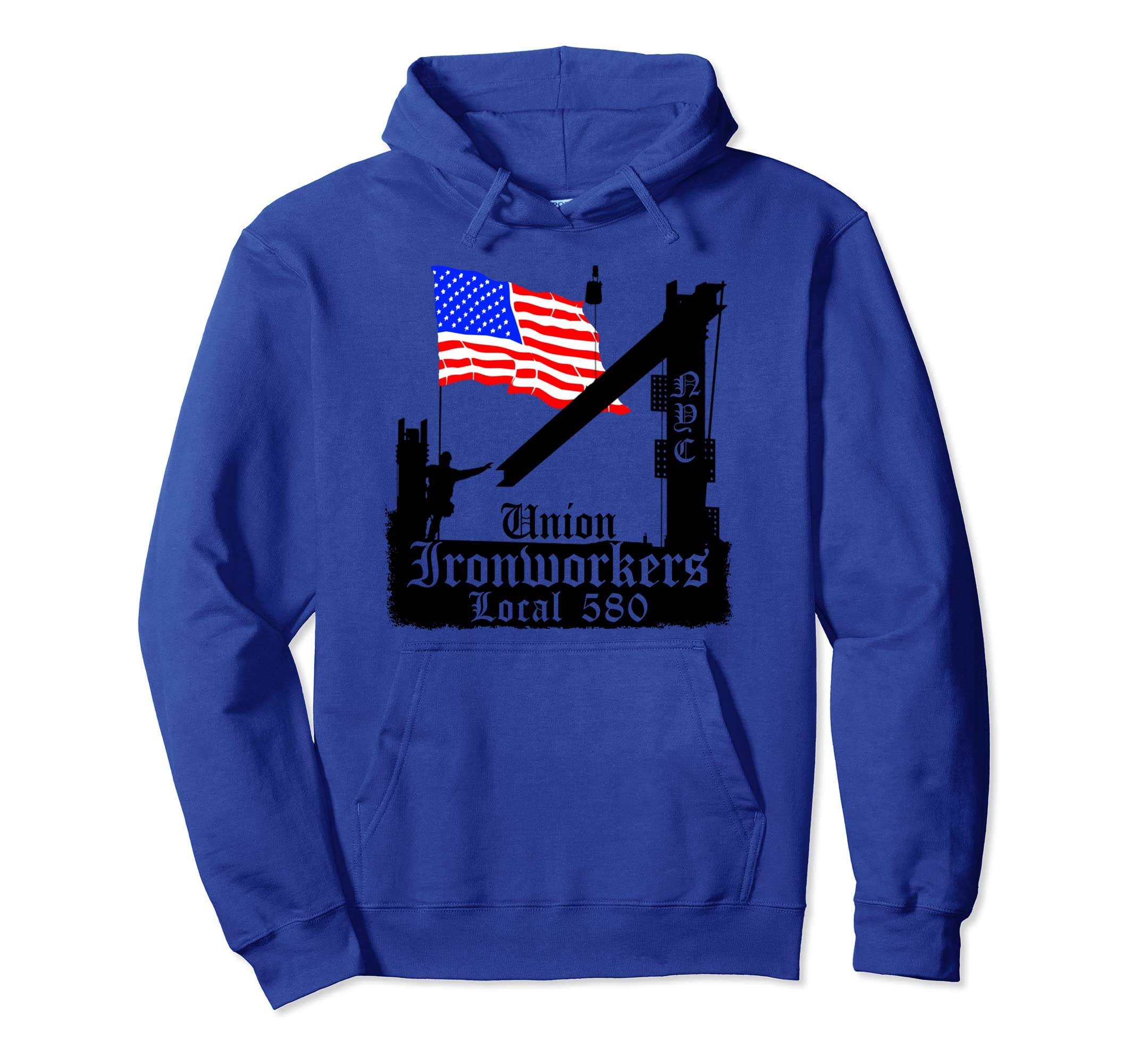 Union Ironworkers Hoodie Local 580 NYC American Flag