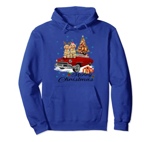 Poodle Red Truck Christmas Matching Family Dog Lover Gifts Pullover Hoodie