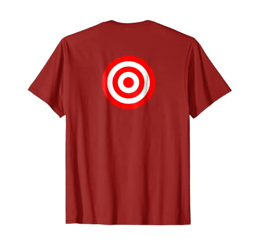 639a228d Image Unavailable. Image not available for. Color: Bullseye Back Print Red  & White Rings Target Funny Tee Shirt