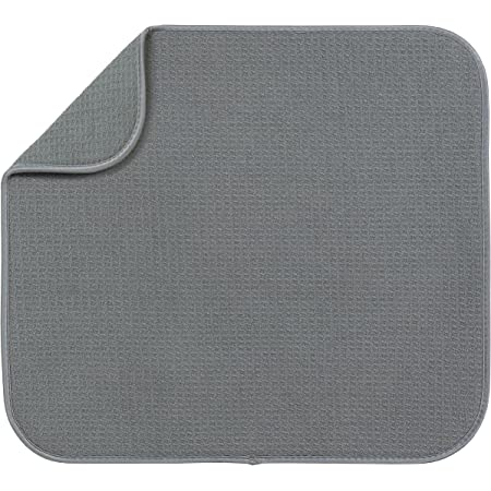 S&T INC. Absorbent, Reversible Microfiber Dish Drying Mat for Kitchen, 16 Inch x 18 Inch, Gray
