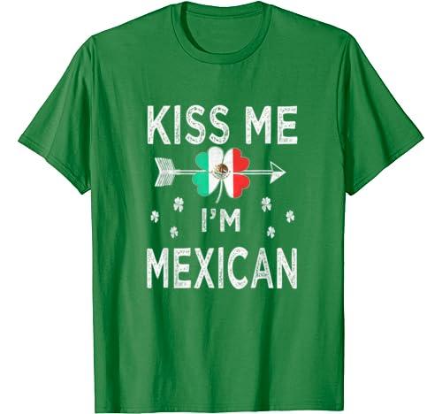 Vintage Kiss Me I'm Mexican St Patricks Day Shamrock For Men T Shirt