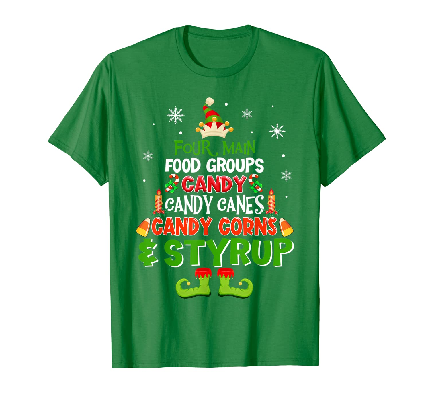 Four Main Food Groups Elf Christmas T-Shirt