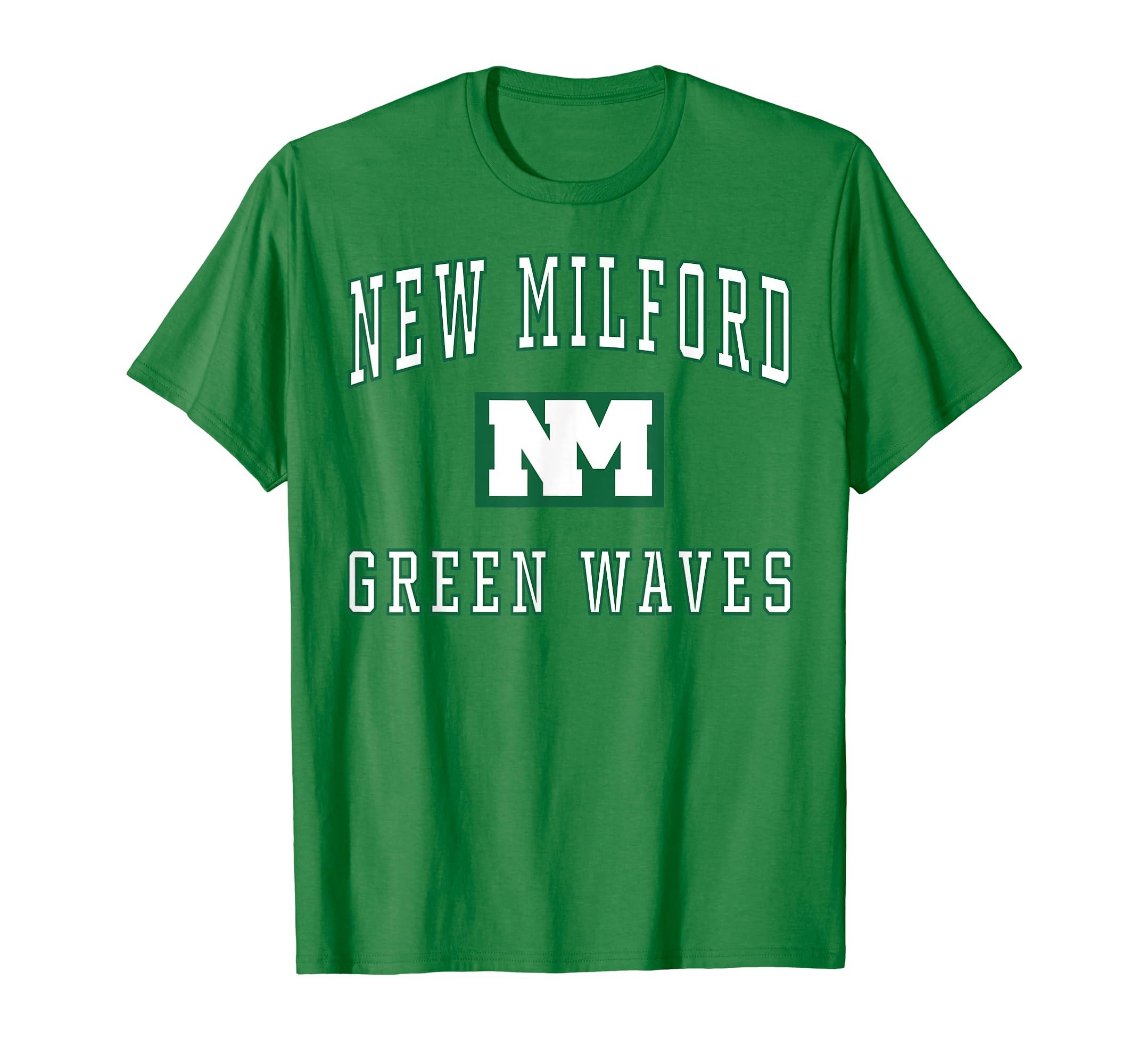 7be83b90b5ea Amazon.com: New Milford High School Green Waves T-Shirt C1: Clothing