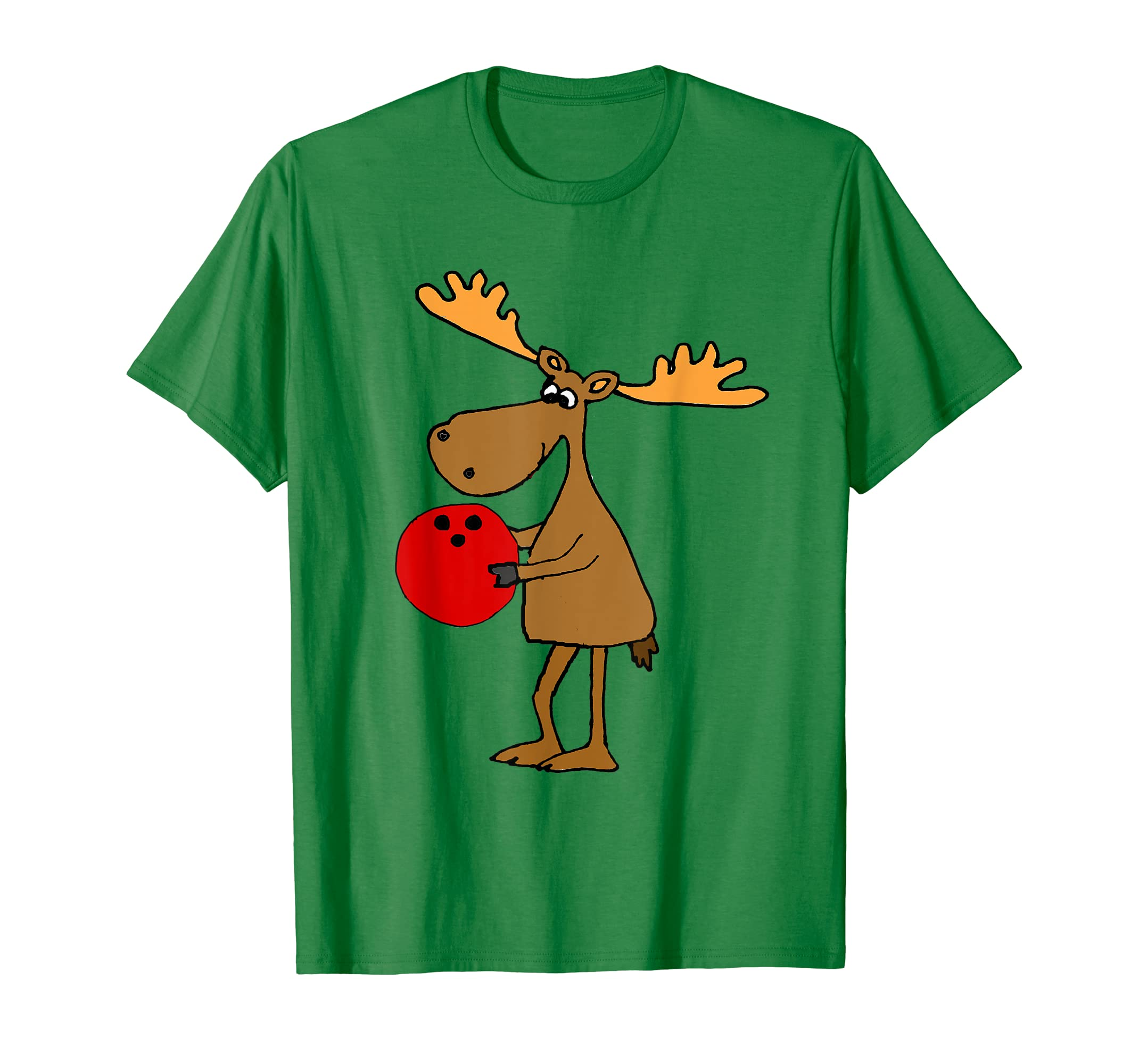ec5b3bb8 Amazon.com: Smilealottees Funny Moose Bowling Cartoon T-shirt: Clothing