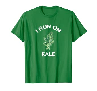feb57e0f88 Image Unavailable. Image not available for. Color: I Run On Kale Funny  Vegan Vegetarian T-Shirt
