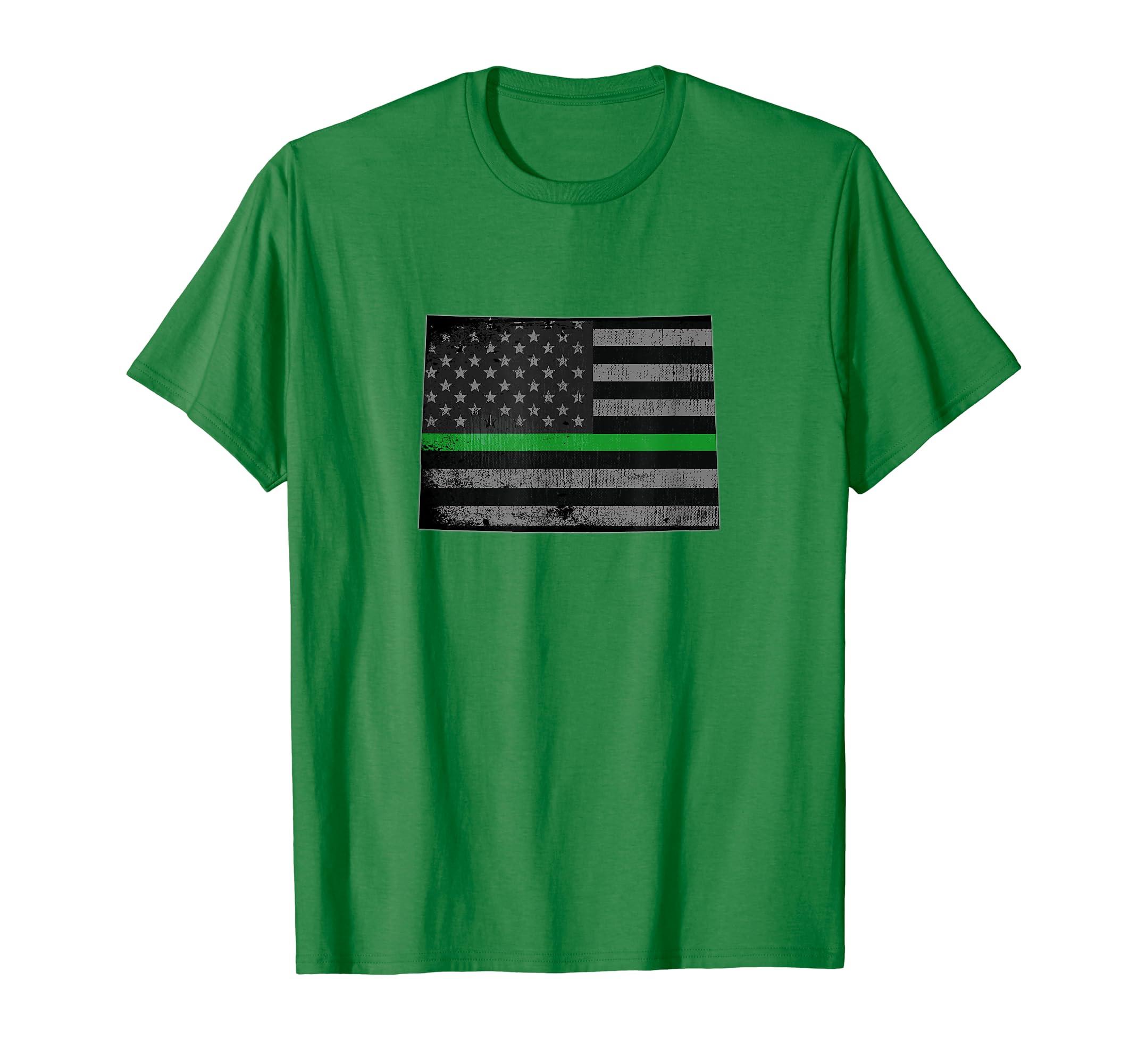 6fcffce6 Amazon.com: Colorado Thin Green Line Flag Federal Agent T-Shirt: Clothing