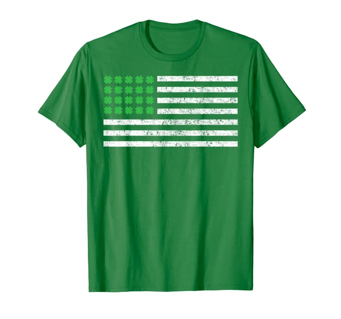 St Patricks Day Flag Shirt, USA Flag with Irish Shamrock Tee
