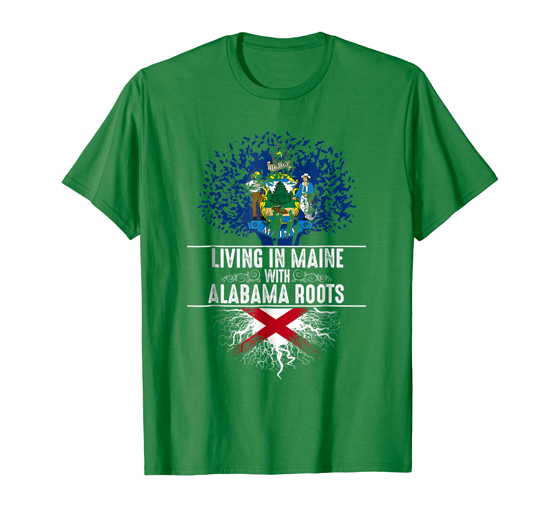 Maine Home Alabama Roots State Tree Flag Shirt Love Gift-SFL