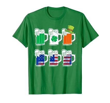 Flag American Irish Beer Saint Patricks Day Shirt Drinking