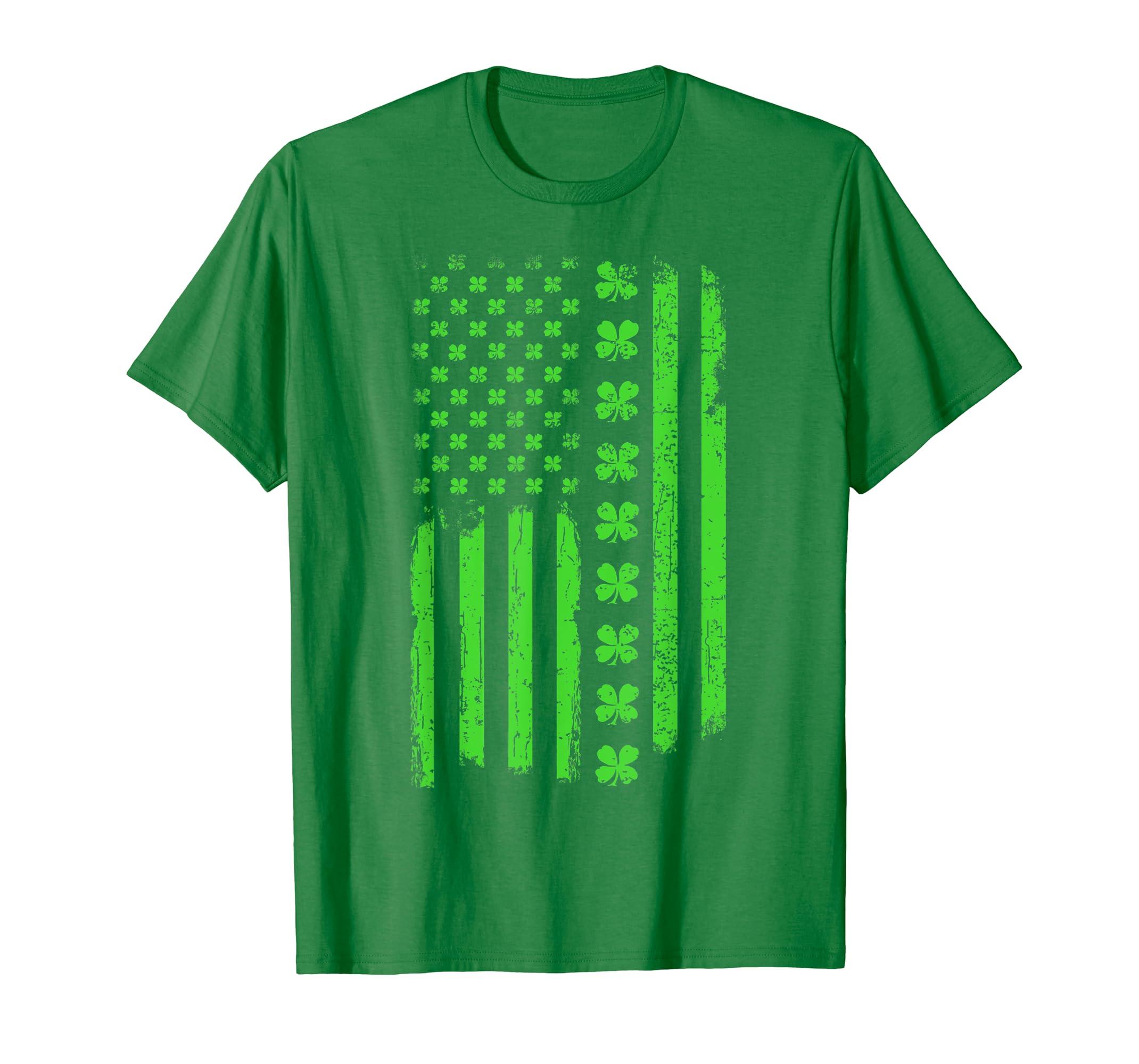 d0d3e5d0 Amazon.com: St Patricks Day Irish American Flag T-Shirt: Clothing