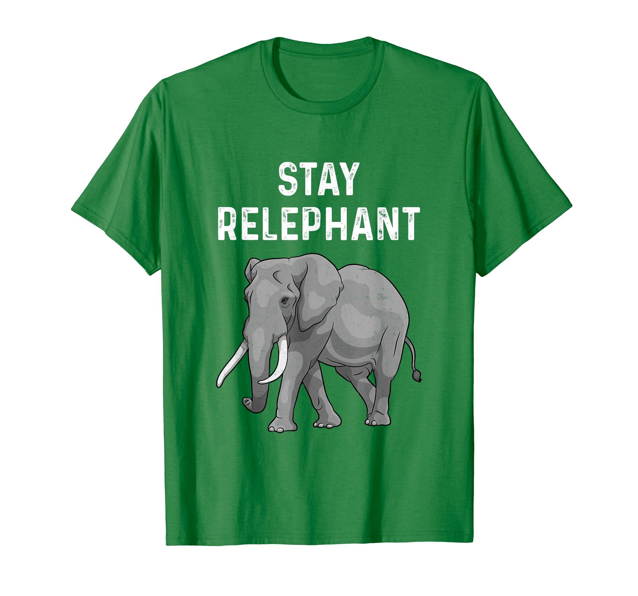 Amazon Funny Elephant Pun Stay Relephant Graphic Animal T Shirt Clothing