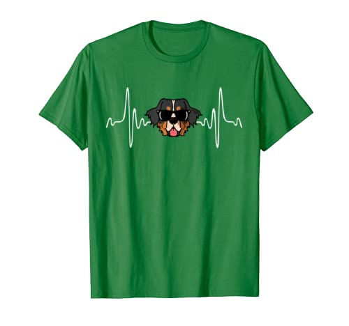 Bernese Mountain Dog Gift EKG Paw Dog Mom Heartbeat T-Shirt