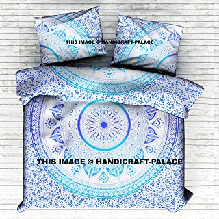 HANDICRAFT-PALACE Exclusive Beautiful Bohemian Traditional Indian Ombre Mandala Duvet Queen Quilt with Pillowcases Ombre Mandala Quilt Doona Cover Cotton Handmade