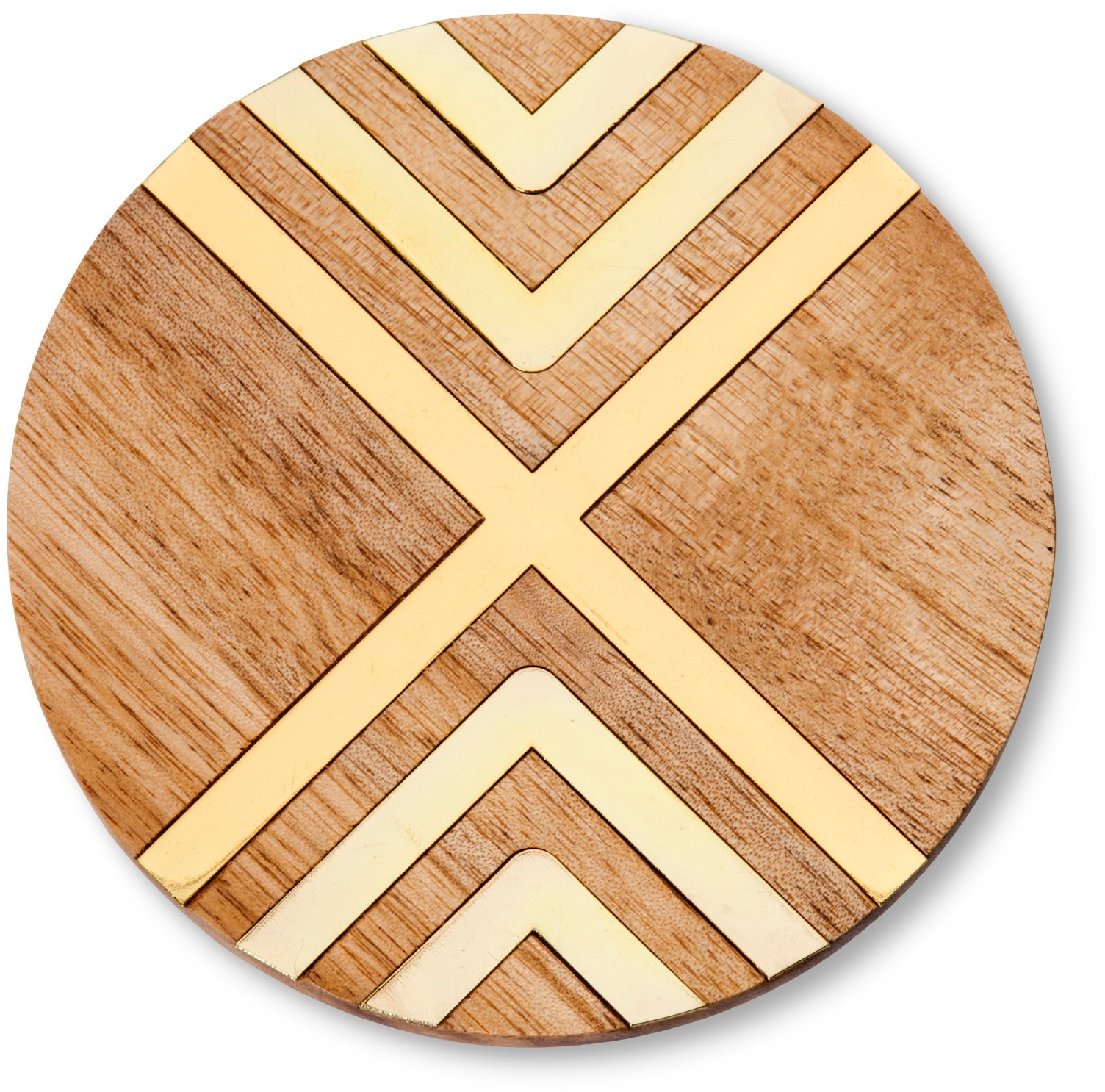 Natural Acacia Coaster with Gold Metal Set of 4 - Threshold™ : Target