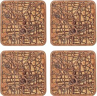 Atlanta Map Coaster by O3 Design Studio, Set Of 4, Sapele Wooden Coaster With City Map, Handmade