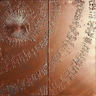 remolino de cobre Abstracto A658 - díptico industrial con textura, arte original, pinturas abstractas con textura del arti...