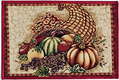 "HomeCrate Fall Harvest Collection, Tapestry Cornucopia with Pumpkins and Fruits Design Area Rug, 19"" x 27"""