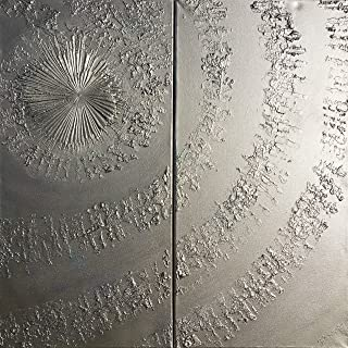 vortice d'argento Astratto A661 - dittico con texture industriale, opere d'arte originali, dipinti astratti con texture de...