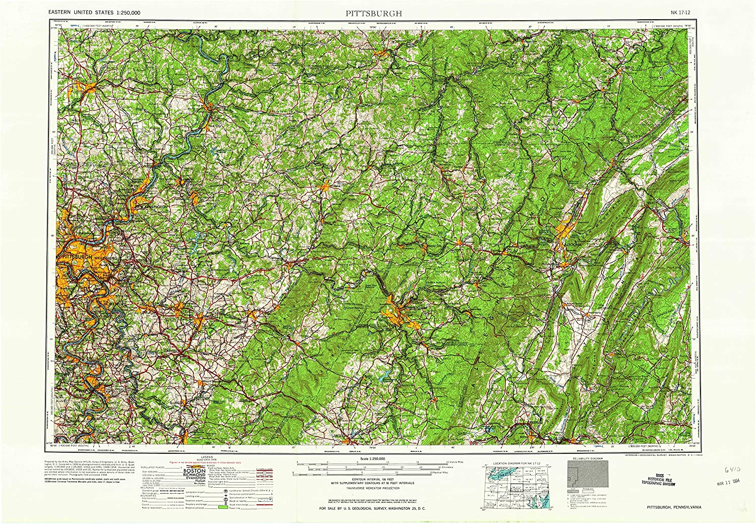Pittsburgh PA topo map, 1 250000 Scale, 1 X 2 Degree, Historical, 1964, 22.1 x 32.2 in