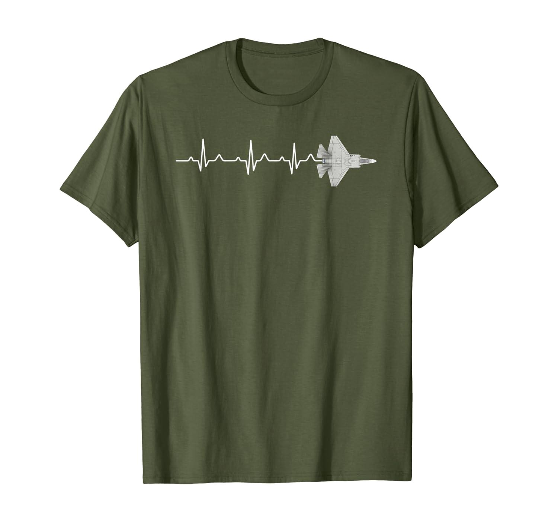 Airplane F-35 lightning II Heartbeat Pilot Flying Gift T-Shirt
