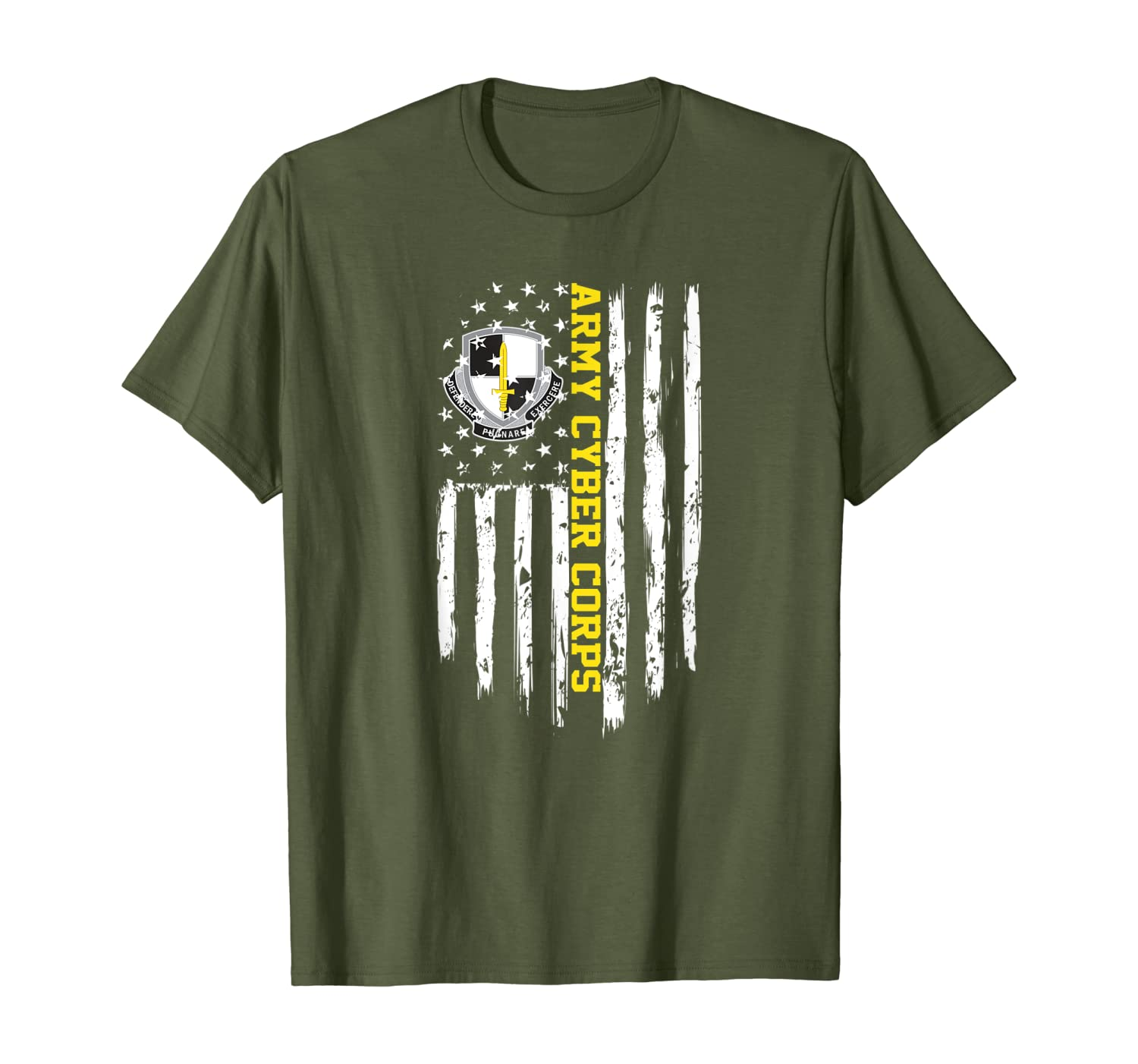 Army Cyber Corps American Flag T-Shirt