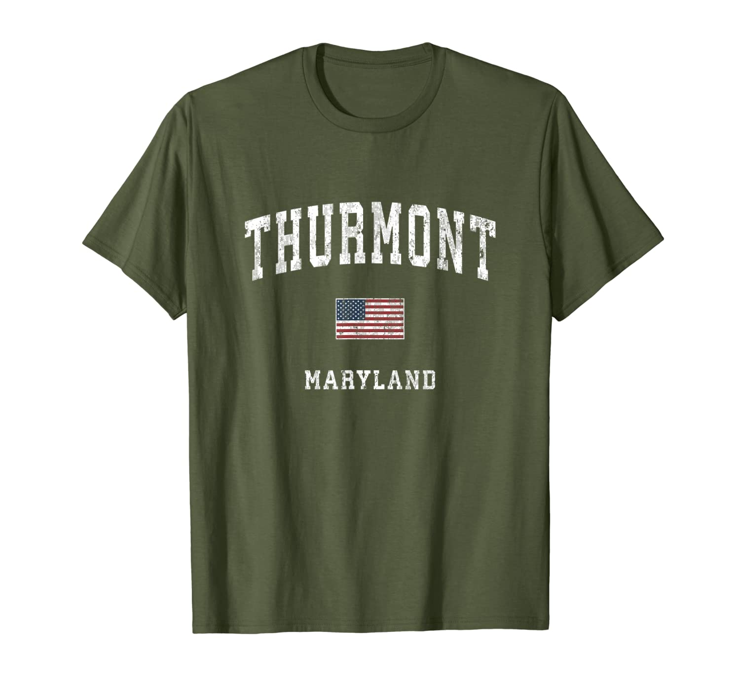 Thurmont Maryland MD Vintage American Flag Sports Design T-Shirt-ANZ