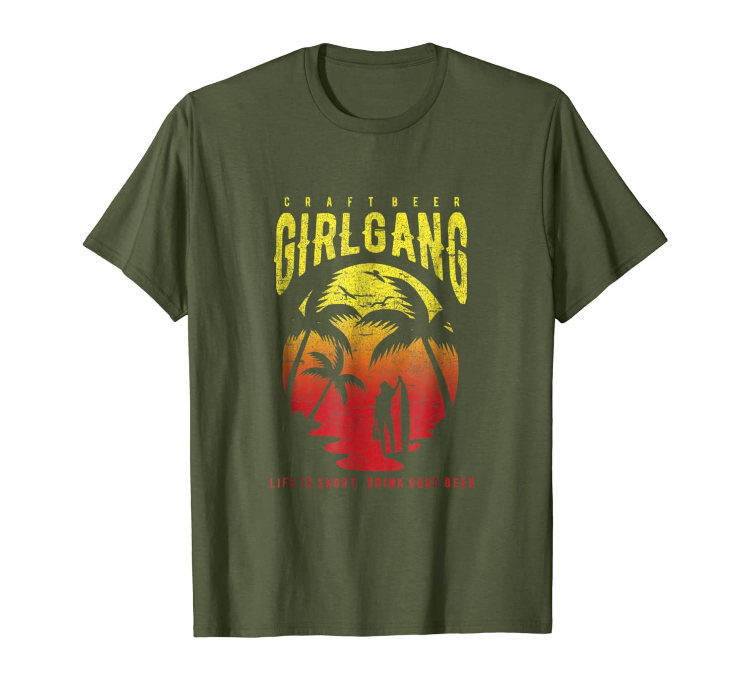 Amazon.com: Craft Beer Girl Gang Surfing Tropical Sunrise T ...