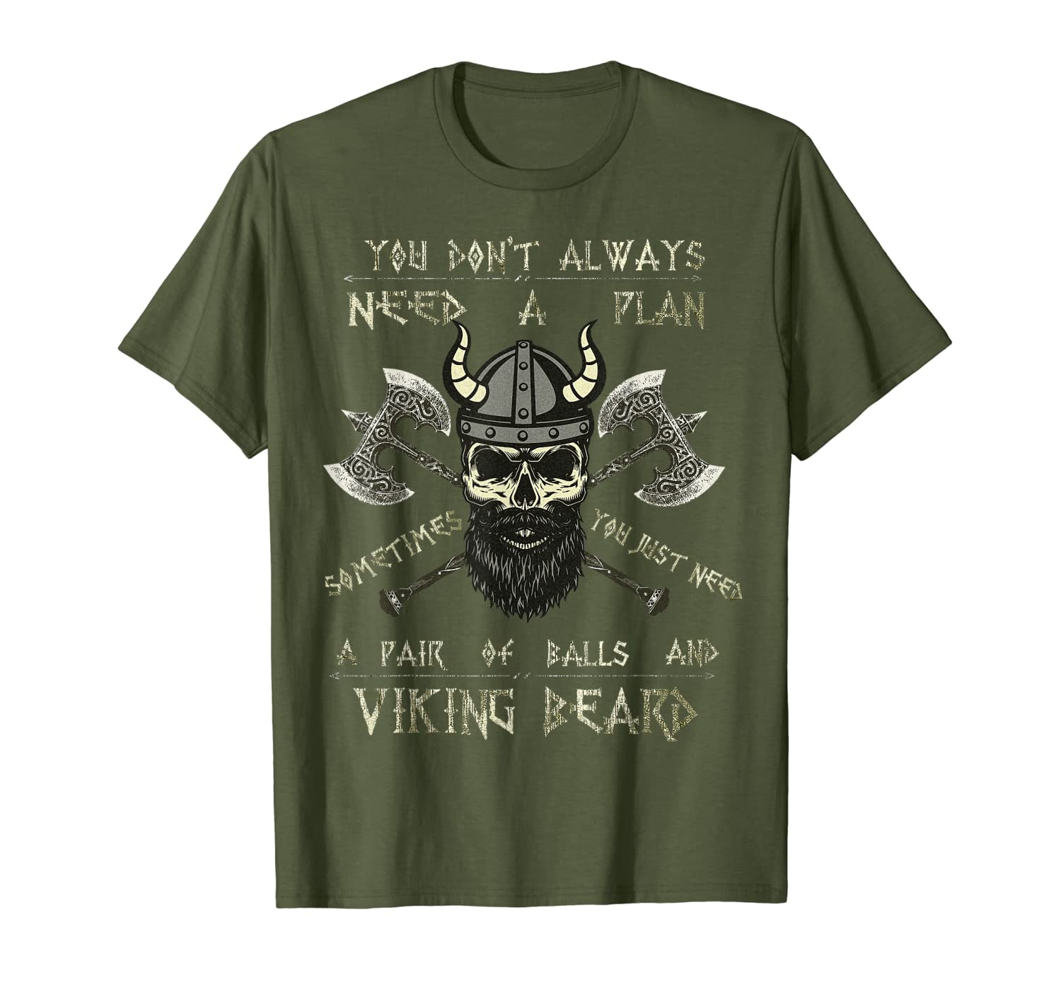 Humor Brave Beard Viking Scull TShirt Vikings Axe Mens Tee-TH